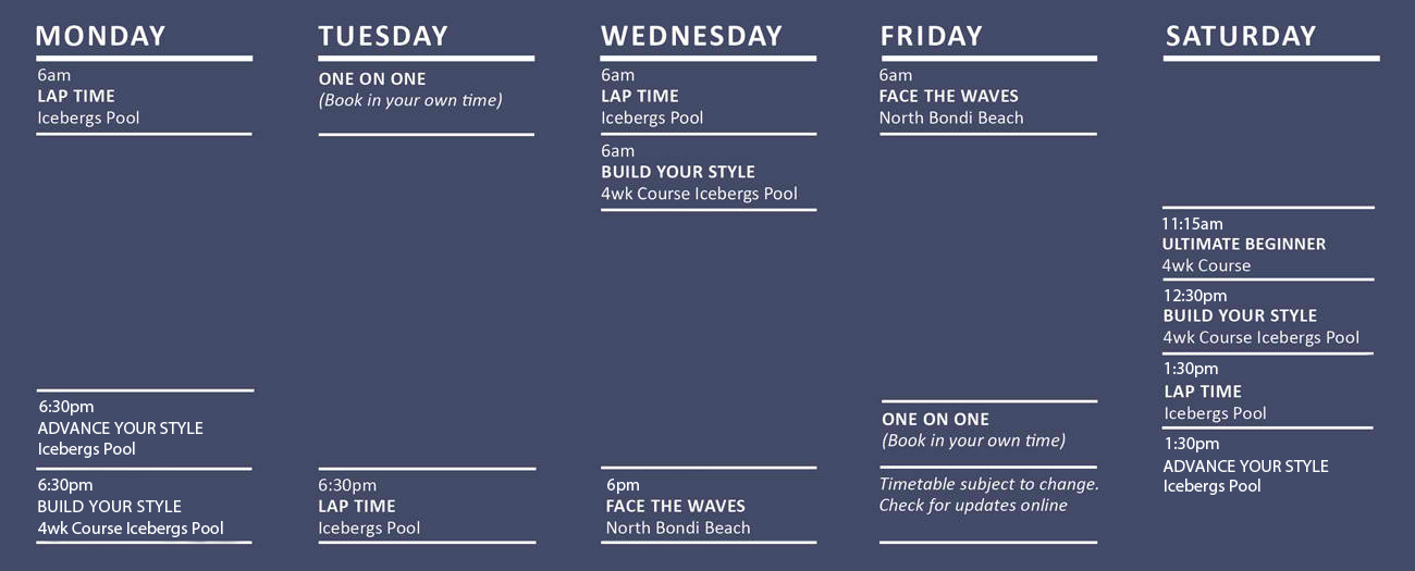 Salty Fit Swim Fitness Training Summer Schedule